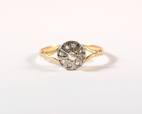 GM333-3 ICYMI Bague marguerite or jaune diamants face - Vintage yellow gold diamonds cluster ring