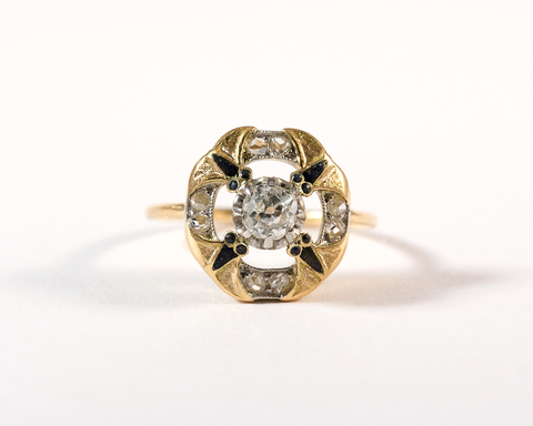 GM333-4 ICYMI Bague Art nouveau or jaune diamants émail face - Vintage enamel diamonds yellow gold Art nouveau ring
