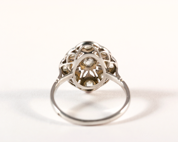 GM348 ICYMI Bague ancienne art déco or gris et diamants ajourée - Gold vintage antique art deco diamond lace ring