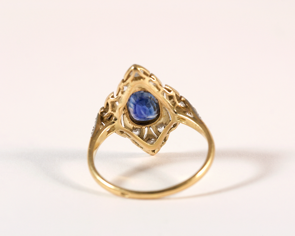 GM357 ICYMI Bague ancienne ovale or jaune platine saphir et diamants - Vintage antique gold platinum diamond sapphire oval ring