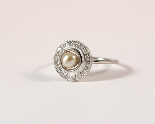 GM358-4 ICYMI Recréation épingle de cravate en bague or gris, diamants et perles - Transformation vintage tie pin into gold diamond and pearl ring