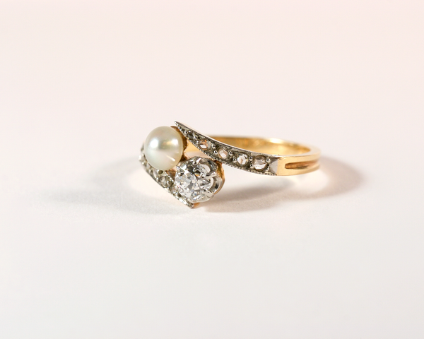 GM359-2 ICYMI Bague toi et moi ancien or jaune argent perle diamant dos - Gold and silver antique vintage toi et moi diamond and pearl ring
