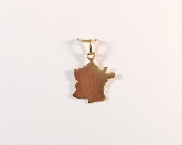 GM367-1 ICYMI Pendentif en or jaune Carte de France - Gold pendant map of France