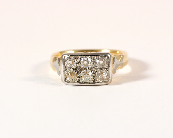 GM369-8 ICYMI Bague ancienne or jaune platine ornée de 6 diamants taille ancienne - Vintage antique gold platinum and old cut diamond ring