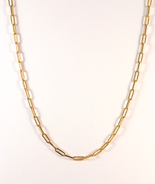 GM370-2 ICYMI Chaîne collier ancienne en or jaune à maillons allongés - Gold long link necklace