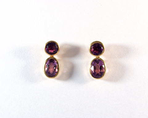 GM379-2 ICYMI Paire de boucles d'oreilles or jaune et améthystes - Gold and amethyst vintage earrings