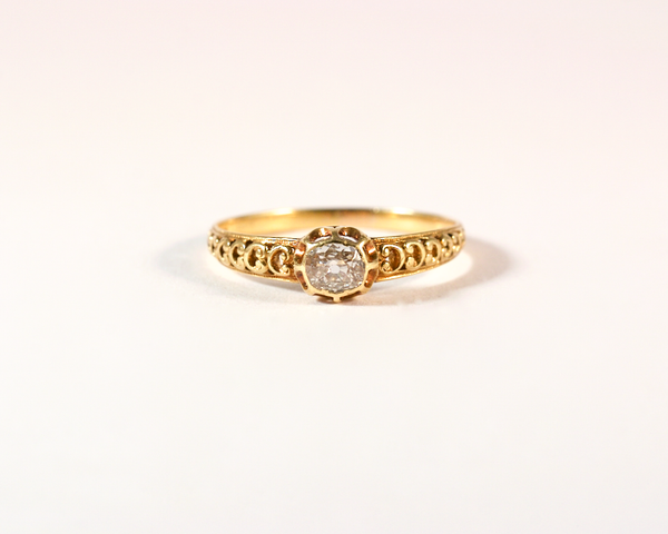 GM385 ICYMI Bague ancienne solitaire diamant taille ancienne coussin - Vintage antique solitaire old cushion cut diamond ring