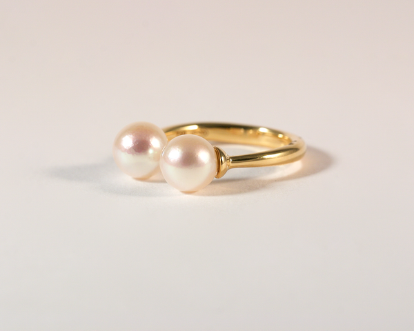 GM386-2 ICYMI Bague toi et moi or jaune et perles rosées - Gold and pearl toi et moi ring