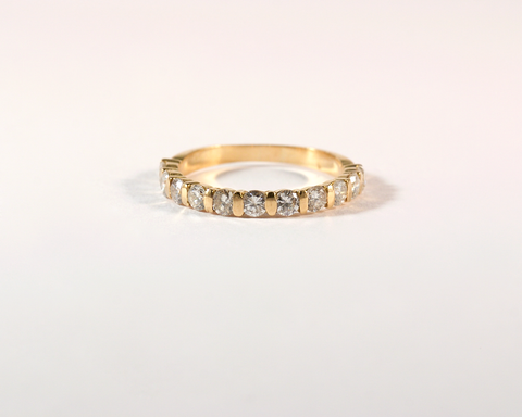 GM386-3 ICYMI Alliance or jaune et diamants - Gold and diamond half eternity band ring