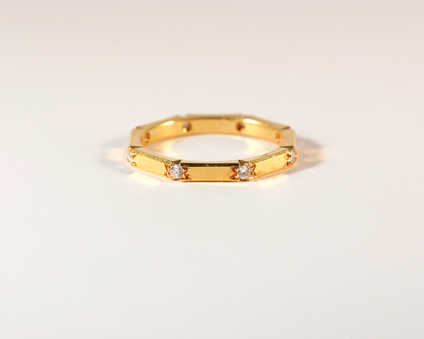GM387-2 ICYMI Bague alliance en or jaune et diamants serti étoilé - Gold and diamond vintage wedding band