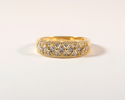 GM398 ICYMI Bague bandeau or jaune et losange diamants - Gold and diamonds band losange ring