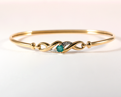 GM405 ICYMI Bracelet jonc couple en or jaune et émeraude - Vintage gold and emerald bracelet