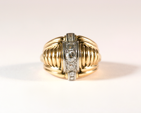 GM410-2 ICYMI Bague Casque bombée or jaune, platine et diamants - Bombé vintage gold platinum and diamond ring