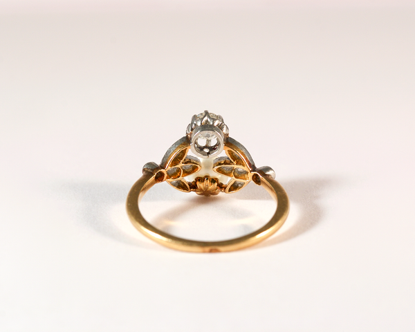 GM414 ICYMI Bague ancienne or jaune platine diamant et perle - Vintage antique gold platinum diamond and pearl ring