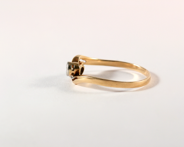 GM417-7 ICYMI Bague ancienne toi et moi or 14k et diamants - 14k gold and diamond toi et moi antique vintage ring