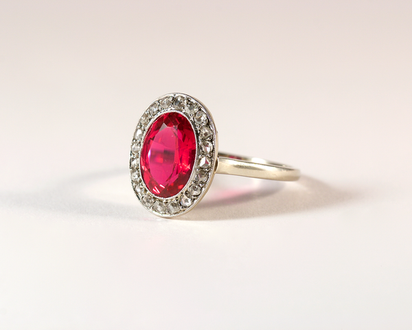 GM417 ICYMI Bague ancienne entourage or, platine rubis et diamants - Vintage antique gold platinum ruby and diamond ring