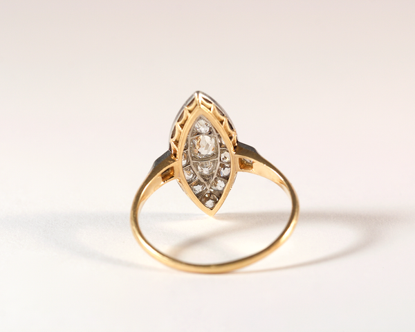 GM418 ICYMI Bague ancienne marquise or jaune platine et diamants taille ancienne - Vintage antique marquise gold old cut diamond ring