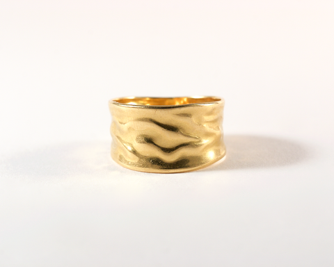GM421-1 ICYMI Bague bandeau en or jaune froissé - Gold ruffled ring