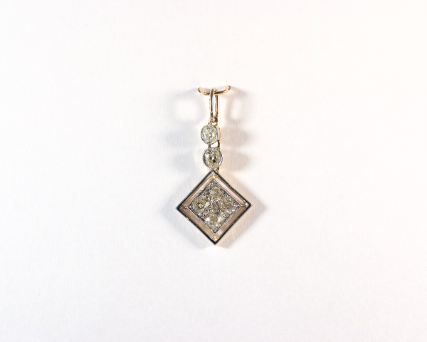GM424-1 ICYMI Pendentif ancien or jaune platine et diamants taille ancienne - Gold platinum old cut diamond vintage antique pendant