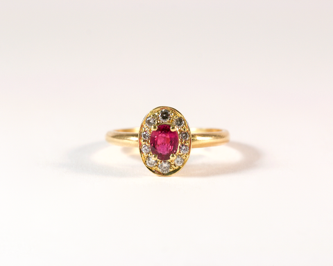 GM425 ICYMI Bague ancienne marguerite rubis entourage diamants - Gold ruby and diamond entourage vintage antique ring