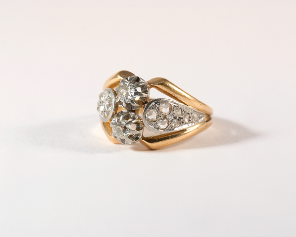 GM426 ICYMI Bague ancienne or jaune platine et diamants taille ancienne - Gold platinum and old cut diamond vintage antique ring