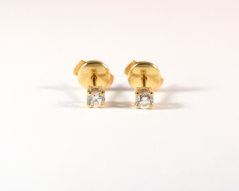 GM434-2 ICYMI Paire de puces d'oreilles or jaune et diamants - Gold and diamond earstuds