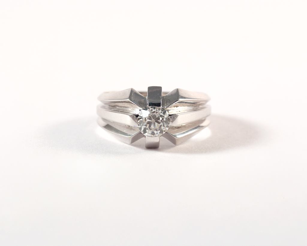 GM441-5 Bague solitaire or et diamant ancienne - Gold and diamond solitaire vintage ring