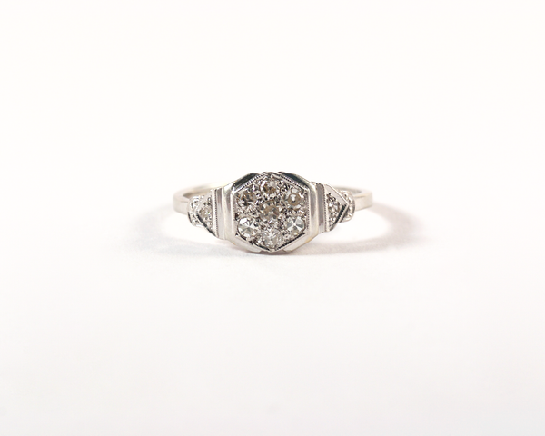 GM441-7 ICYMI Bague ancienne 1930 art deco platine et diamants - Platinum and diamond vintage antique ring