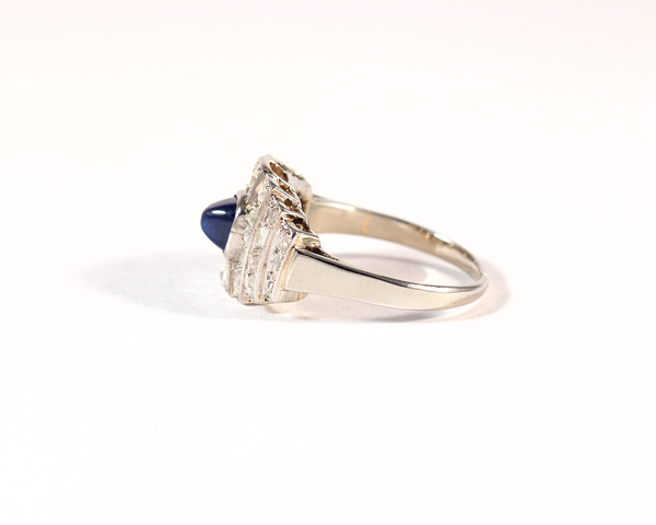 GM445-2 ICYMI Bague ancienne or platine diamants et saphir pain de sucre - Gold platinum diamond and sapphire vintage antique ring