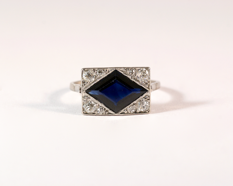 GM447-1 ICYMI Bague ancienne 1930 art deco platine or saphir et diamants - Gold platinum diamond and sapphire vintage antique ring
