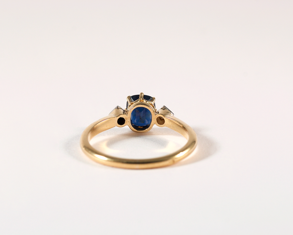 GM461 ICYMI Bague ancienne or jaune platine saphir et diamants taille rose - Gold platinum diamond and sapphire vintage antique ring