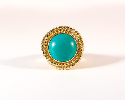 GM471-2 ICYMI Bague ancienne or jaune torsade et imitation turquoise - Gold braided and imitation turquoise vintage ring