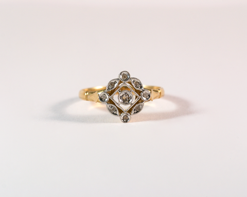 GM475-3 ICYMI Bague losange ajourée or jaune et éclats de diamants - Gold and diamond ring