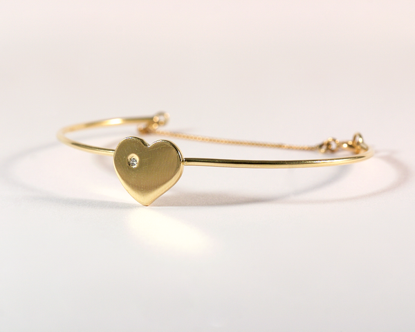 GM477-2 ICYMI Bracelet or jaune coeur serti d'un diamant - Gold heart and diamond bracelet