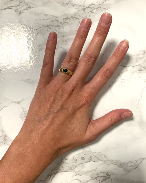 GM481-1 ICYMI Bague jonc or jaune saphir cabochon - Gold and sapphire cabochon ring