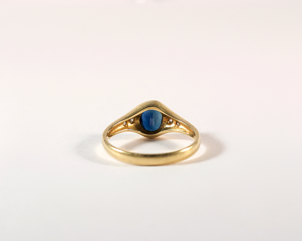 GM482 ICYMI Bague jonc saphir ovale et diamants - Gold sapphire and diamond ring