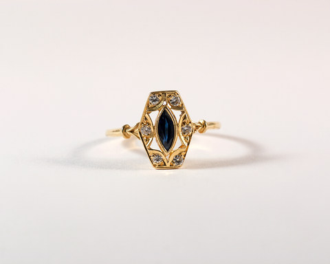 GM483-2 ICYMI Bague losange or jaune saphir et diamants - Gold sapphire and diamond ring