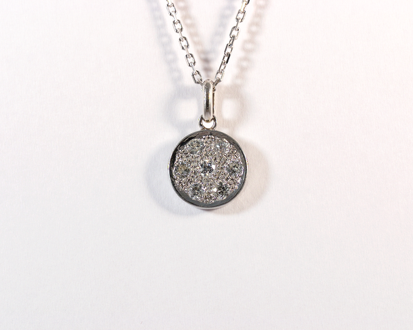 GM484 ICYMI Pendentif  or blanc pavé diamants et chaîne en argent - Gold and diamond pendant and silver chain