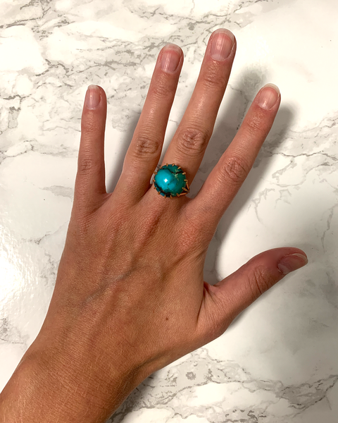 GM485-2 ICYMI Bague cocktail or jaune et turquoise cabochon - Gold turquoise cabochon cocktail ring