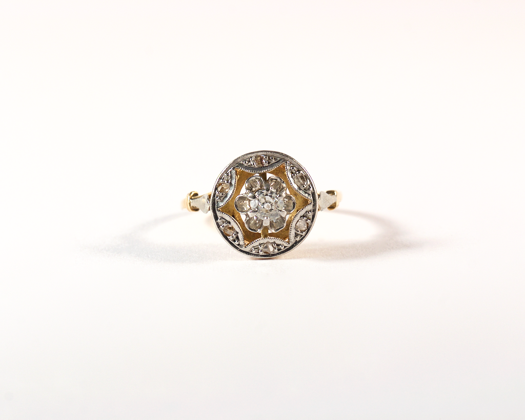 GM489 ICYMI Bague  ancienne or platine et diamants taille ancienne - Vintage antique gold platinum old cut diamond ring