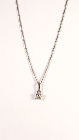 GM495 ICYMI Chaîne or blanc et pendentif diamant taille ancienne - Gold chain and old cut diamond pendant