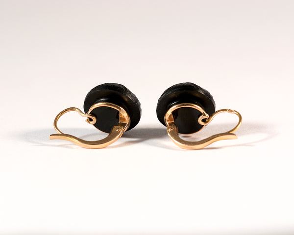 GM496-4 ICYMI Dormeuses anciennes boucles d'oreilles en or rose et jais - Gold and jet antique vintage earrings