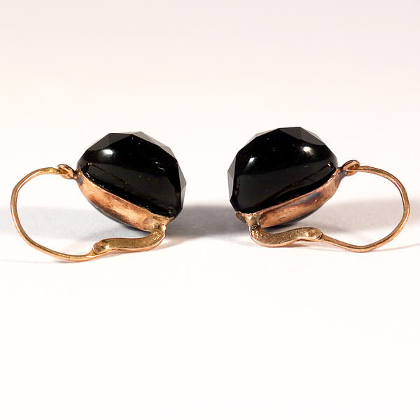 GM496-5 ICYMI Paire de dormeuses boucles d'oreilles or rose et onyx - Gold and onyx vintage antique earrings