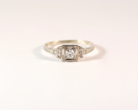 GM498-2 ICYMI Bague ancienne or platine et diamants serti carré - Gold platinum and diamond art deco vintage antique ring