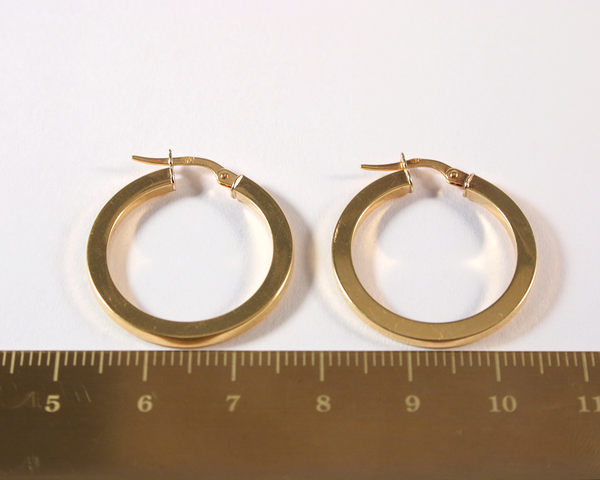 GM506-2 ICYMI Créoles ronde vintage en or jaune à section carrée - Gold ear hoops