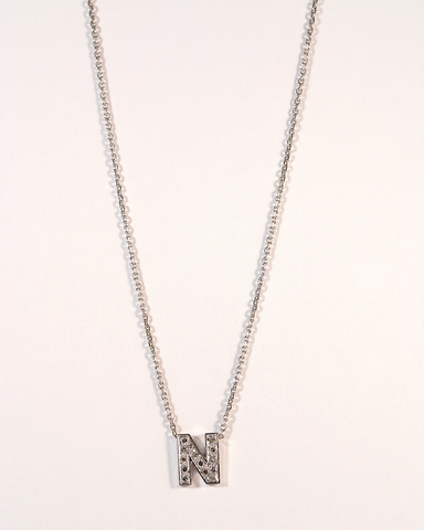 GM507-1 ICYMI Collier or gris « N » pavé de diamants  - Gold and diamond « N » necklace