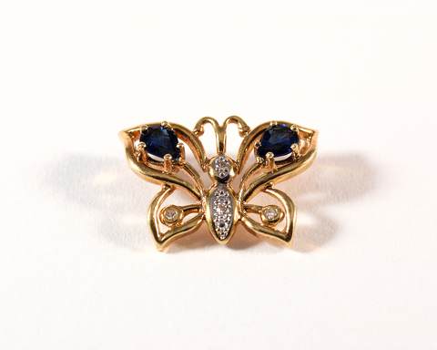 GM507-5 ICYMI pendentif papillon or jaune diamants et pierres bleues - Gold diamond and blue stone butterfly pendant
