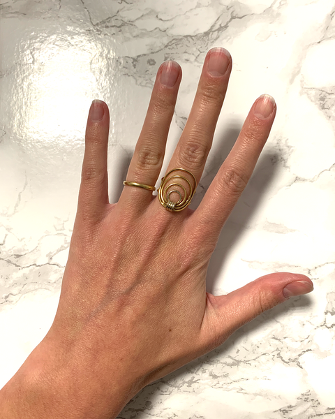 GM513 ICYMI Bague fils d'or jaune - Gold circle vintage ring