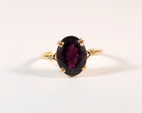 GM515-2 ICYMI Bague ancienne or jaune et améthyste ovale - Gold and amethyst vintage antique ring