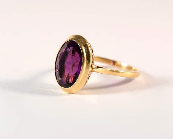 GM522-1 ICYMI Bague ancienne or jaune et améthyste - Vintage antique gold and amethyst ring
